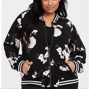 Torrid Black Floral Twill Bomber Zip Jacket, 4X